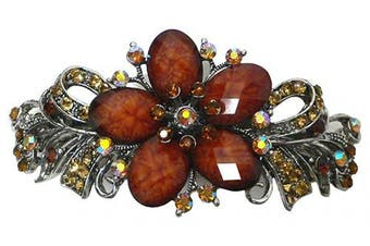 Large Barrette Hair Clip with Vibrant Colour Beads and Crystals U86012-0052amber