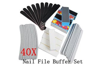 Biutee 40PCS Nail Art Sanding Files Buffer Block Manicure Pedicure Tools Sand Paper Foam UV Gel Set Nail File