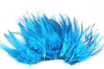 (Lake blue) - Celine lin 100PCS Saddle Hackle Rooster Feathers Natural Pheasant Neck feathers 10cm - 15cm ,Lake blue