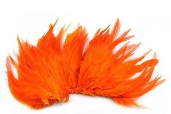 (Orange) - Celine lin 100PCS Saddle Hackle Rooster Feathers Natural Pheasant Neck feathers 10cm - 15cm ,Orange