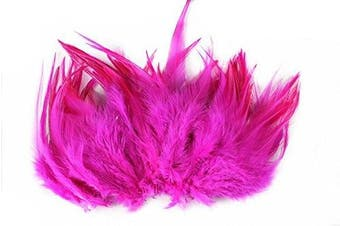 (Rose red) - Celine lin 100PCS Saddle Hackle Rooster Feathers Natural Pheasant Neck feathers 10cm - 15cm ,Rose red