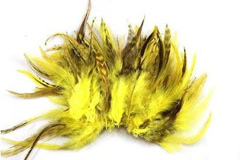 (Yellow) - Celine lin 100PCS Saddle Hackle Rooster Feathers Colourful Pheasant Neck feathers 15cm - 20cm ,Yellow