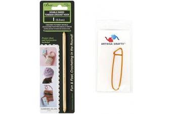 (Size-I/5.5mm) - Clover Needlecraft Double Ended Tunisian Crochet Hook I/5.5mm Bundle with 1 Artsiga Crafts Stitch Holder 1307/I