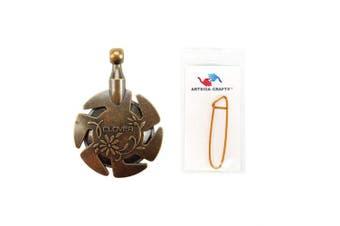 (#3105-antique-gold) - Clover Yarn Cutter Pendant Antique Gold Bundle with 1 Artsiga Crafts Stitch Holder 3105