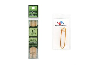 (Size-6/4mm) - Clover Needlecraft Takumi Bamboo Double Point Knitting Needles 5 inch 5/Pkg Size 6/4mm Bundle with 1 Artsiga Crafts Stitch Holder 3014 06