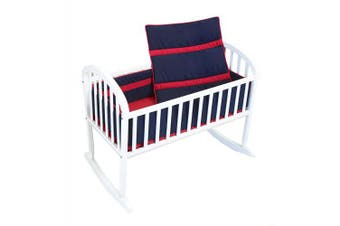 Baby Doll Solid Stripe Cradle Bedding Set, Navy/Red