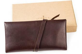(Dark coffee with key) - Ancicraft Leather Pouch Pencil Case Pen Holder Phone Bag Pocket with Beautiful Key Closure in Gift Box (Dark Coffee with Key)