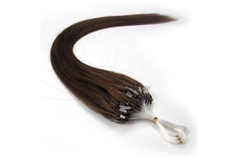 (46cm , 06 Lighter Brown) - 41cm 40g, 46cm 50g, 50cm 50g, 60cm 50g, 60cm 70g, 70cm 50g 100strands Indian Premier Remy Loop Micro Ring 100% Human Hair Extensions 5A* UK Seller (46cm , 06 Lighter Brown)