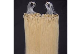 (46cm , 613 Lightest Blonde) - 41cm 40g, 46cm 50g, 50cm 50g, 60cm 50g, 60cm 70g, 70cm 50g 100strands Indian Premier Remy Loop Micro Ring 100% Human Hair Extensions 5A* UK Seller (46cm , 613 Lightest Blonde)
