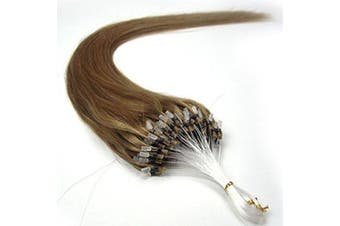 (60cm , 10 Lightest Brown) - 41cm 40g, 46cm 50g, 50cm 50g, 60cm 50g, 60cm 70g, 70cm 50g 100strands Indian Premier Remy Loop Micro Ring 100% Human Hair Extensions 5A* UK Seller (60cm , 10 Lightest Brown)