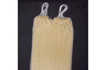(41cm , 60 Platinum Blonde) - 41cm 40g, 46cm 50g, 50cm 50g, 60cm 50g, 60cm 70g, 70cm 50g 100strands Indian Premier Remy Loop Micro Ring 100% Human Hair Extensions 5A* UK Seller (41cm , 60 Platinum Blonde)
