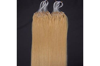 (46cm , 24 Natural Blonde) - 41cm 40g, 46cm 50g, 50cm 50g, 60cm 50g, 60cm 70g, 70cm 50g 100strands Indian Premier Remy Loop Micro Ring 100% Human Hair Extensions 5A* UK Seller (46cm , 24 Natural Blonde)