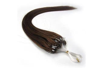 (60cm , 06 Lighter Brown) - 41cm 40g, 46cm 50g, 50cm 50g, 60cm 50g, 60cm 70g, 70cm 50g 100strands Indian Premier Remy Loop Micro Ring 100% Human Hair Extensions 5A* UK Seller (60cm , 06 Lighter Brown)
