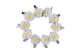 Yueton 10pcs Little Daisy Flower Barrettes Bobby Pin Alligator Clip Hair Clips Bride Head-wear Edge Clip Clamps (White)