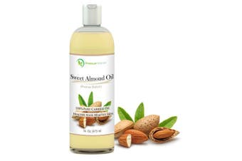 (sweetalmond) - Sweet Almond Oil 470ml - Carrier Oil, Cleansing Properties, Evens Skin Tone, Treats Irritated Skin, Nourishes, Moisturises & Prevents Ageing- By Premium Nature
