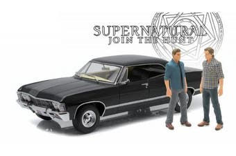 "1967 Chevrolet Impala Sport Sedan with Sam and Dean Figures ""Supernatural"" (TV Series 2005) 1/18 by Greenlight 19021"