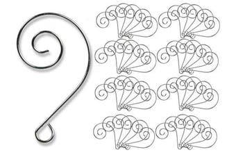 (100) - Metal Wire Ornament Hooks - Shiny Silver Chrome Ornament Hangers - Decorative Swirl Scroll Design - Bulk Set of 100