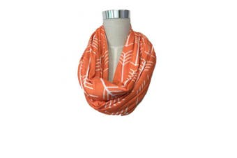 (Orange w/White Arrows) - Infinity Nursing Scarf For Breastfeeding Covers Baby Also Breast Pump Cover Up