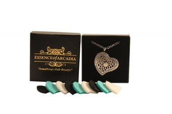 (heartstone) - Luxury Aromatherapy Essential Oil Diffuser Heart Shaped Pendant locket with crystals by Essence Of Arcadia - Great Gift Set (Includes 9 Oils Pads And Gift Box + Stainless Steel Chain And Clasp)