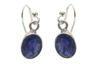 925 Sterling Silver Iolite Oval Drop Fishhook Earrings - August Birthstone