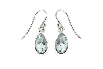 925 Sterling Silver Blue Topaz Tear Drop Fish-hook Earrings - March Birthstone