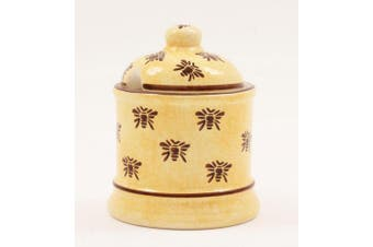 Ceramic BUSY BEE Design Honey Pot / Honey Container / Breakfast Honey Dish - with lid - 10.5cm