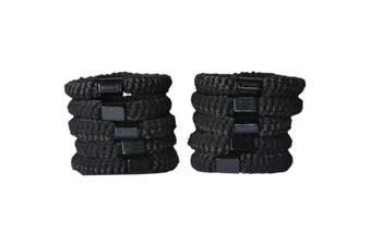 Bzybel 10pcs Thick Solid Stretch Pony Elastics Ponytail Holders Black