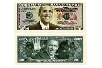 American Art Classics Pack of 10 - Barack Obama 2008-2016 Commemorative Dollar Bills - Collectible Novelty Million Dollar Bills - Best Gift for Obama Lovers