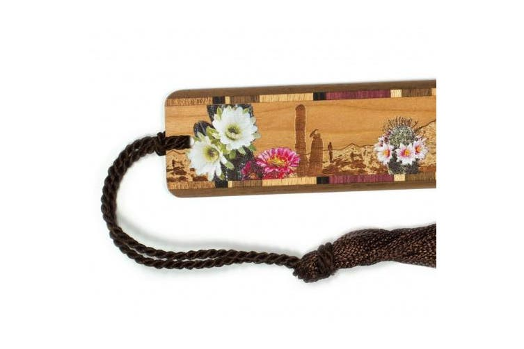Desert Flowers- Desert Scene Engraved Colour Wooden Bookmark with Tassel
