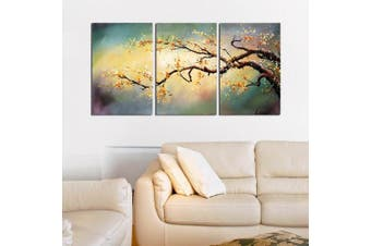(16x24inchesx3, yellow plun artwork) - ARTLAND Modern 100% Hand Painted Flower Oil Painting on Canvas Yellow Plum Blossom 3-Piece Gallery-Wrapped Framed Wall Art Ready to Hang for Living Room for Wall Decor Home Decoration 60cm x 120cm