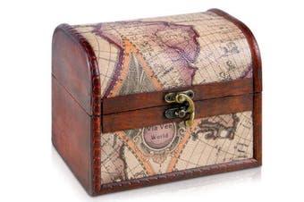 (Louis S 6,3x4,7x4,7 Inch) - Brynnberg wooden pirate treasure chest   decorative storage box model 'Louisiana'   Vintage decoration handmade   various sizes: small, medium, large (C small 6,3x 4,18cm x 12cm )