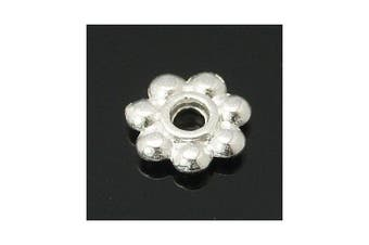 Packet of 100+ Silver Tibetan 6mm Flower Spacer Beads - (HA15050) - Charming Beads