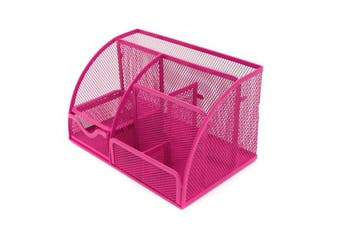 Generic Office Desk Tidy Organiser Pen Holder Mesh Stationery Container Pink
