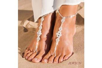 JEWSUN 2 PC Wedding barefoot sandals, Bridal barefoot sandals, Foot jewellery, Wedding sandals, Footless sandals, Slave anklet, Wedding Accessories, Pearl