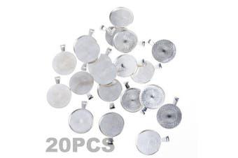 (Silver Color) - BCP 20pcs 2.5cm Circle Pendant Blank Tray Cabochon Settings (Silver Colour)