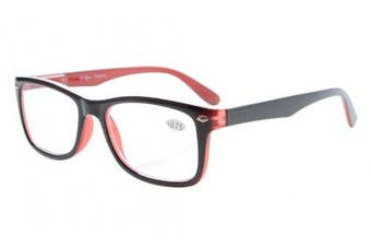 (+2.00, Black-Red) - Eyekepper Readers Spring-Hinges Quality Classic Vintage Style Reading Glasses Black-Red +2.0