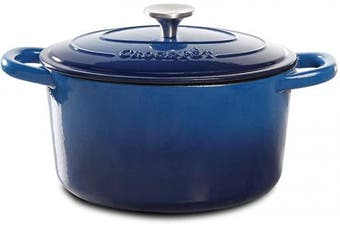 (4.7l, Round, Demin Blue) - Crock Pot 109471.02 Artisan Round Cast Iron Dutch Oven with Non-Stick Surface, 4.7l, Denim Blue