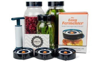 (3 Wide Mouth Lids + Pump) - Easy Fermenter Wide Mouth Lid Kit: Simplified Fermenting In Jars Not Crock Pots! Make Sauerkraut, Kimchi, Pickles Or Any Fermented Probiotic Foods. 3 Lids, Extractor Pump & Recipe eBook - Mould Free
