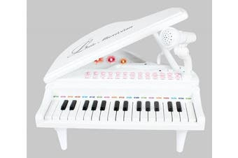 31 Key Small Toy Piano White with Microphone for Boys and Girls