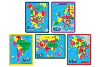 The Continent Puzzle Collection - Portable, Educational, Colourful, & Fun - 5 Puzzle Combo Pack (171 Pieces)
