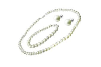 925 Sterling Silver Real Freshwater Pearl GIFT SET - Necklace, Bracelet and Stud Earrings - 95 Delightful Pearls - June Birthstone