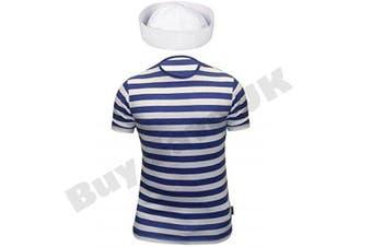 (7-9 years) - Childrens Kids Boys Girls Sailor Blue White Striped T Shirt & Doughboy Hat Fancy Dress Costume (7-9 years)