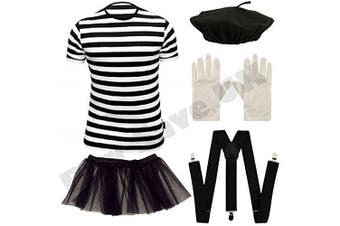 (7-9 years) - Childrens Kids Mime Artist French T Shirt, Beret Hat, Braces, Tutu Skirt & Gloves Fancy Dress Costume (7-9 years)