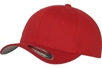 (L-XL, Red) - Adult Flexfit Woolly Combed Cap
