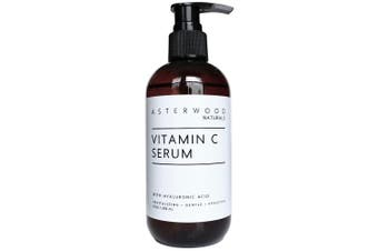 Asterwood Naturals Vitamin C Serum with Organic Hyaluronic Acid - Lighten Sun Spots, Anti Ageing, Anti Wrinkle - Face Moisturiser - Leaves Skin Full & Plump - Intense Hydration in a Bottle (240ml)