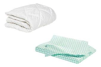 (41cm  x 80cm , Green) - BKB Bassinet Mattress Protector and 2 Gingham Sheets Combo, Green, 41cm x 80cm