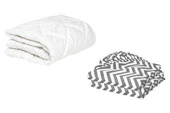 (46cm  x 90cm , Grey) - BKB Cradle Mattress Protector and 2 Chevron Sheets Combo, Grey, 46cm x 90cm