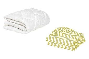 (38cm  x 80cm , Yellow) - BKB Cradle Mattress Protector and 2 Gingham Sheets Combo, Yellow, 38cm x 80cm
