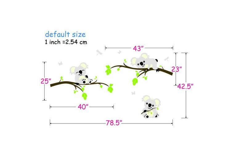 Koala Tree Branch Wall Decals DIY Wall Decals Wall Sticker Nursery Vinyls Baby Wall Stickers Wall Art For Kids Rooms, 200cm W x 110cm H