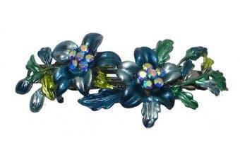 Bella Crystal Flower Barrette YY86800-11blue